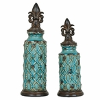 Dawson Lidded Ceramic Urns, Set of 2