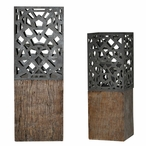De Luca Pillar Candle Holders, Set of 2