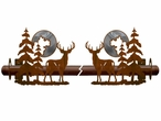 Burnished Deer and Pine Trees Metal Curtain Rod Holders