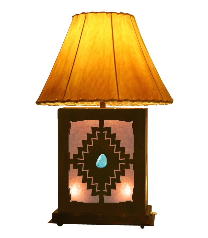 desert diamond scenic metal table lamp with night light. Black Bedroom Furniture Sets. Home Design Ideas