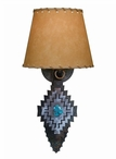 Desert Diamond with Turquoise Arrow Metal Wall Sconce