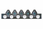 Desert Diamond with Turquoise Stone Six Light Metal Vanity Light