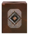 Diamond Copper Concho Metal Boutique Tissue Box Cover