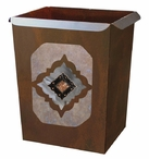 Diamond Copper Concho Metal Wastebasket Trash Can