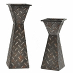 Diamond Plated Pillar Candle Holders, Set of 2