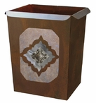 Diamond Silver Concho Metal Wastebasket Trash Can