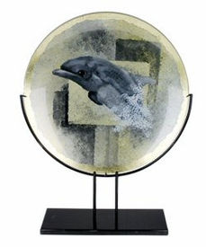 Dolphin Round Fused Glass Platter Charger