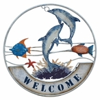 Dolphins & Fish Metal Welcome Sign