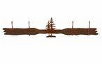 Double Pine Trees Four Hook Metal Wall Coat Rack