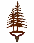 Double Pine Trees Large Single Metal Wall Hook