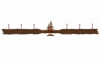 Double Pine Trees Six Hook Metal Wall Coat Rack
