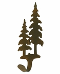 Double Pine Trees Small Single Metal Wall Hook