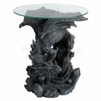 Dragon Howling on an Iceberg Round Glass End Table