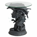 Dragon Opening Wings Celtic Pattern Round Glass End Table
