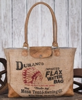 Durango Water Stonewashed Burlap and Soft Leather Tote Bag