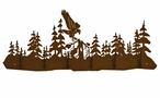 Eagle in the Forest Scene Six Hook Metal Wall Coat Rack