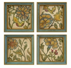Elberta Hand Painted Floral Wall Art Canvases, Set of 4