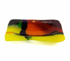 Electric Design Fused Glass Platter with Ball Legs