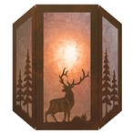 Elk and Pine Trees Three Panel Metal Wall Sconce