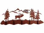 Elk Scene Five Hook Metal Wall Coat Rack