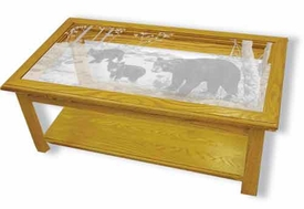 Etched Glass Bear Art in Solid Oak Rectangle Coffee Table