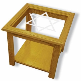Solid Oak Square End Table with Etched Glass Star of David Top