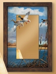 Fall Flight Mallard Ducks Scenic Framed Wall Mirror with Wood Frame