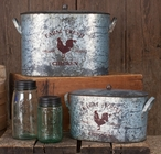 Farm Fresh Chicken Metal Buckets with Lids, Set of 2