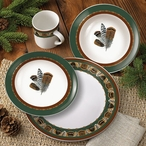 Feathers Ceramic Dinnerware Set 16 Piece
