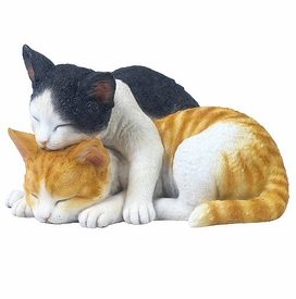 Feline Cat Couple in Color Sleeping Sculpture