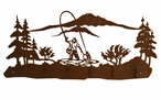 Fisherman Fly Fishing Scene Six Hook Metal Wall Coat Rack