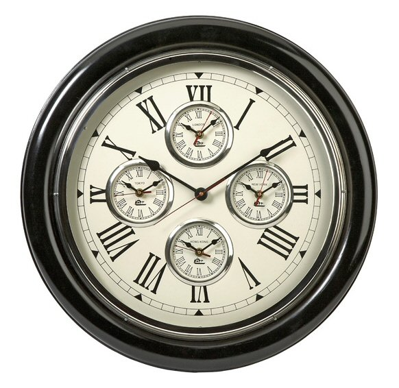 Five Country Time Zone Multi Functional Wall Clock