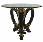 Floral Round Polyresin End Table with Glass Top