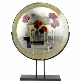 Flowers Round Fused Glass Platter Charger