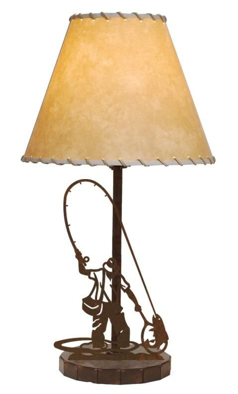 fly fisherman metal table lamp with shade wildlife style lighting. Black Bedroom Furniture Sets. Home Design Ideas