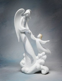 Flying Angel Porcelain Figurine Sculpture
