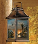 Flying Free Eagle Bird Scene Metal Candle Lantern