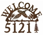 Flying Pheasant Metal Address Welcome Sign