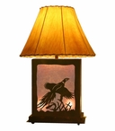 Flying Pheasant Scenic Metal Table Lamp with Night Light