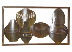 Framed Horizontal Pots Metal Wall Art