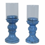 French Blue Pillar Candle Holders, Set of 2