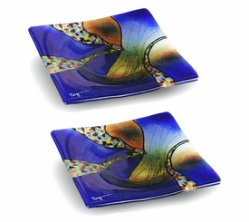Fusion of Colors Small Square Fused Glass Plate, Set of 2