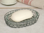 Galvanized Oval Wire Soap Dishes with Glass Liners, Set of 4