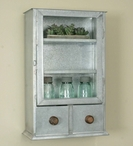 Galvanized Three Shelf Metal Wall Cabinet with Drawers