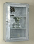 Galvanized Three Shelf Metal Wall Cabinet with Glass