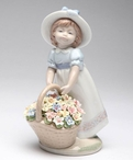 Gathering a Bouquet of Flowers Porcelain Sculpture