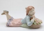 Girl Lying Down Porcelain Sculpture by Nadal