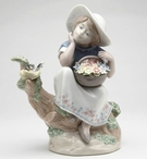 Girl Spring Time Dreaming Porcelain Sculpture