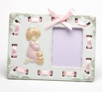 Girl with Her Teddy Bear Praying Porcelain Picture Frame