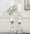 Glass Pillar Candle Holder with Silver Foiling, Set of 2